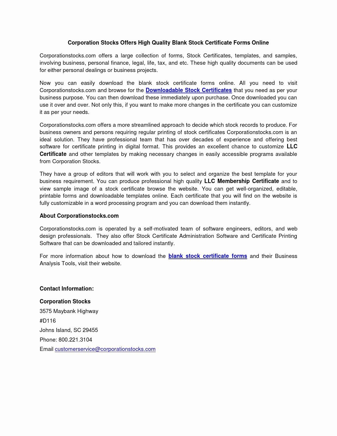 Llc Share Certificate Template New Blank Stock Certificate forms by Bernadette B issuu