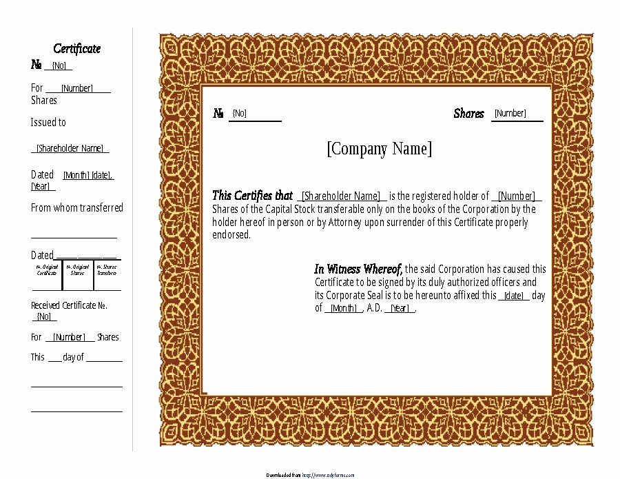 Llc Share Certificate Template Unique 40 Free Stock Certificate Templates Word Pdf