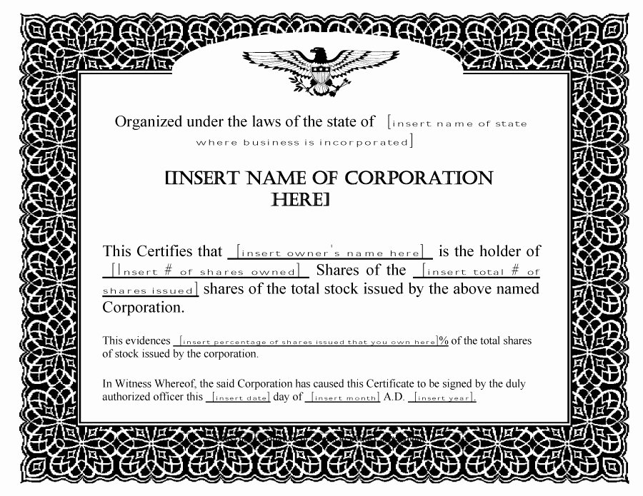 Llc Stock Certificate Template Awesome 40 Free Stock Certificate Templates Word Pdf