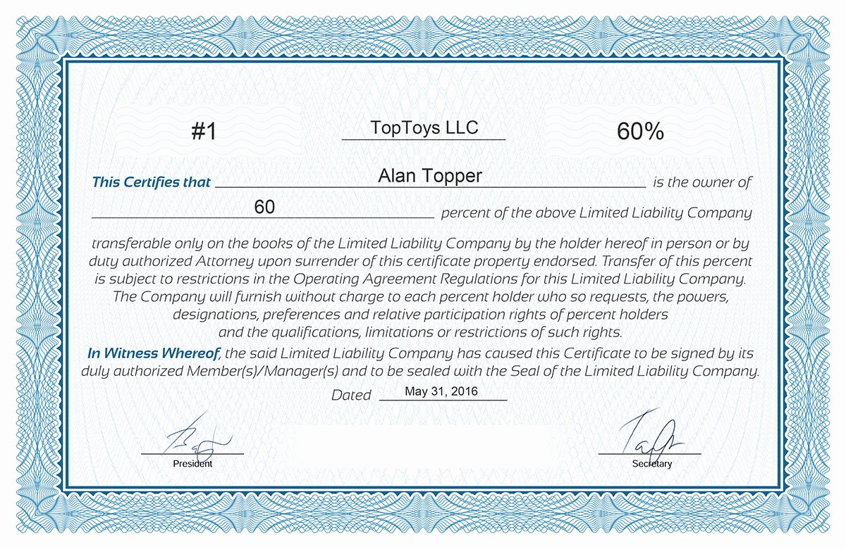 Llc Stock Certificate Template Fresh Free Stock Certificate Online Generator