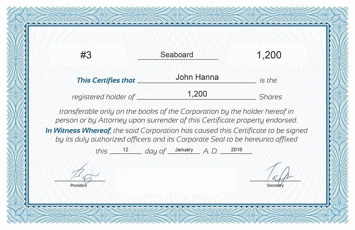 Llc Stock Certificate Template Luxury Free Stock Certificate Online Generator