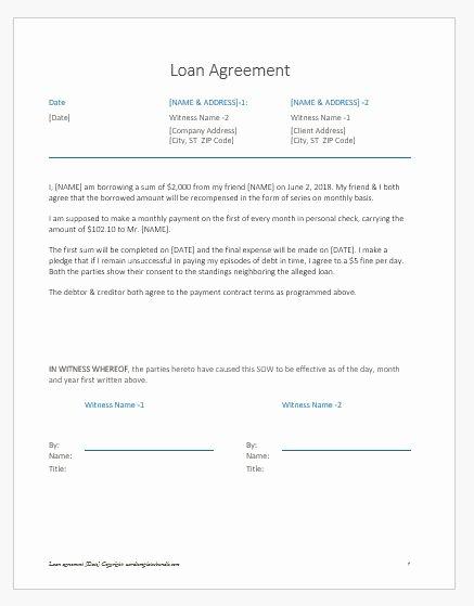 Loan Agreement Between Friends Template Beautiful Loan Agreement Letter Note Between Friends