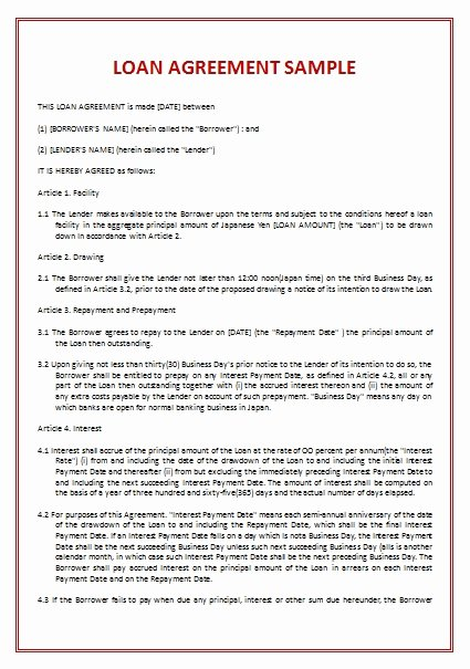 Loan Agreement Between Friends Template Unique Free Printable Loan Agreement Examples for Your
