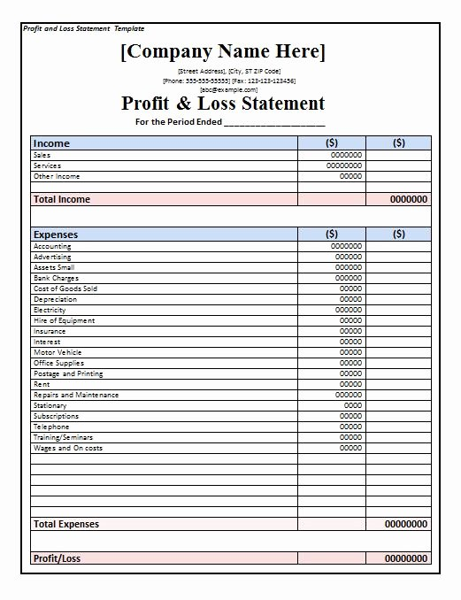 Loss Of Income form Beautiful 35 Profit and Loss Statement Templates & forms