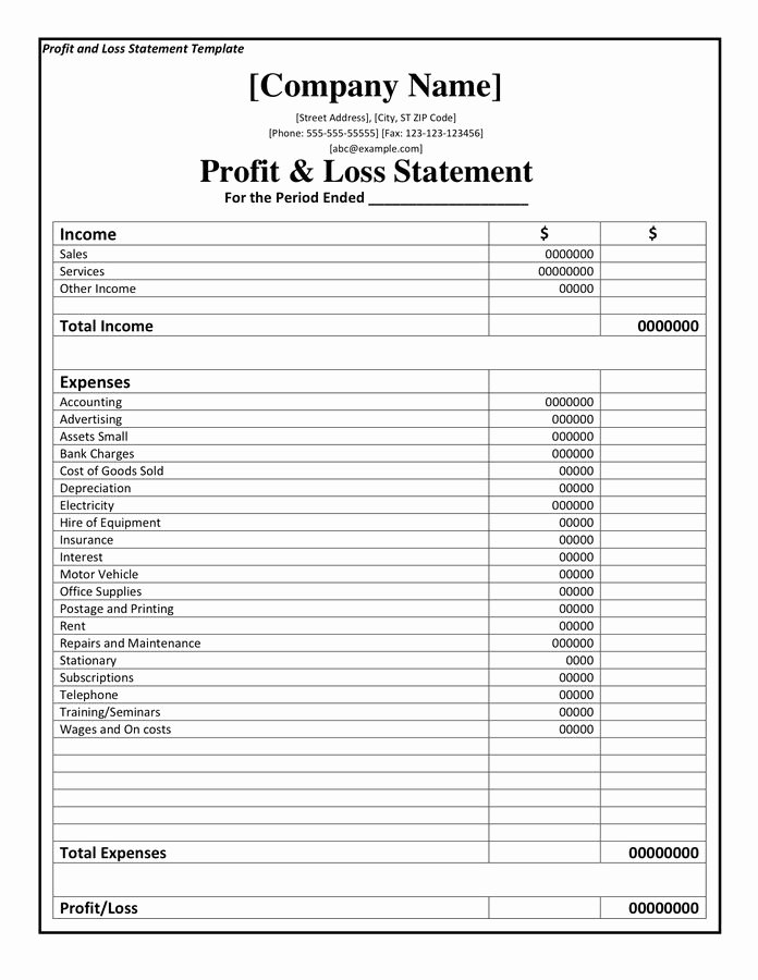 Loss Of Income form Elegant Profit and Loss Statement Template Doc Pdf Page 1 Of 1