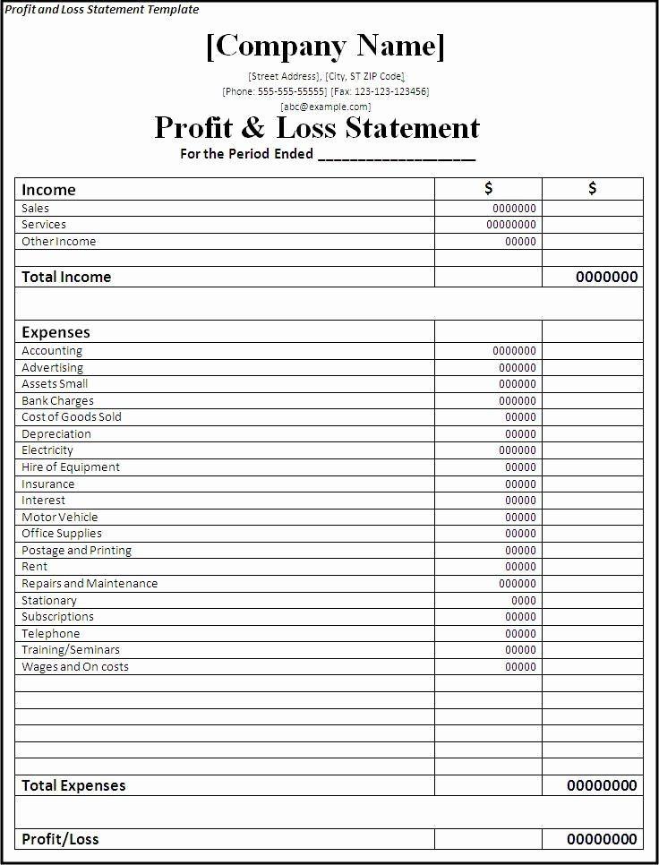 Loss Of Income form Fresh Profit and Loss Statement form Printable