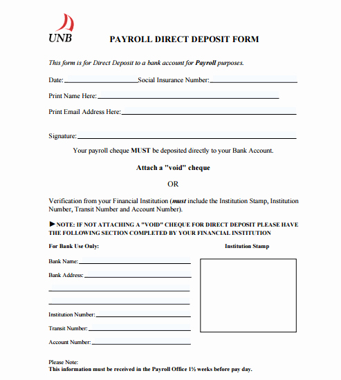 Lost Wages form Template Awesome 10 Direct Deposit form Templates Free Sample Templates