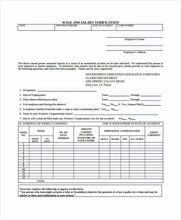 Lost Wages form Template Elegant Verification form