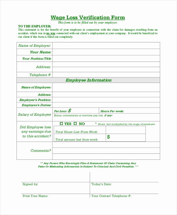 Lost Wages form Template New Free 9 Sample Wage Verification forms