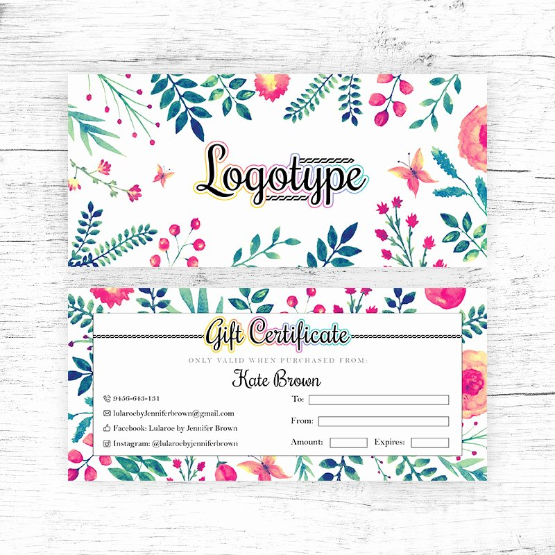 Lularoe Gift Certificate Template Fresh Floral Lularoe Gift Certificate Cutergb Printable