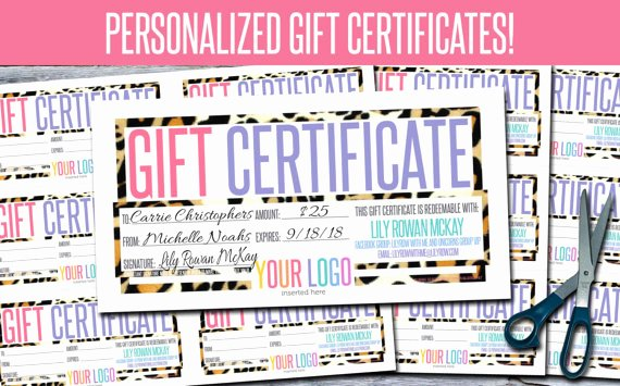Lularoe Gift Certificate Template Inspirational Gift Certificates Personalized Print Your Own Gfc06