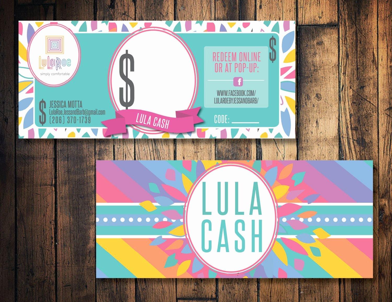 Lularoe Gift Certificate Template Luxury Lula Roe Cash Lula Mula Lula Bucks Printable Lula Cash
