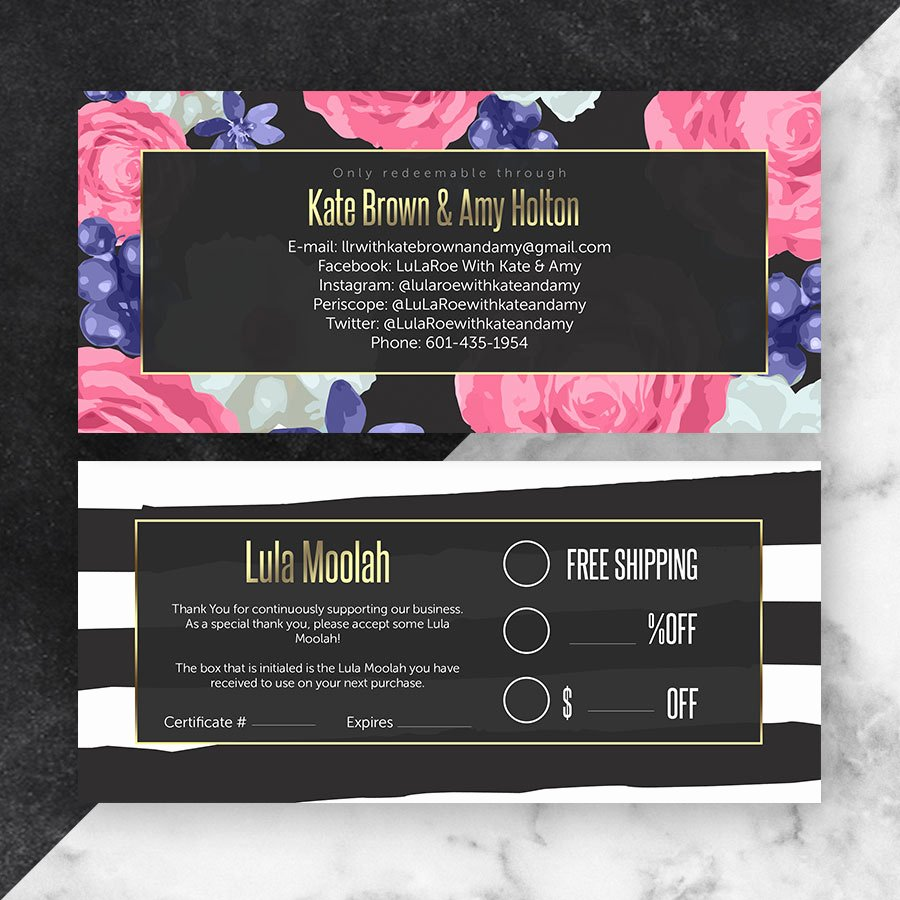Lularoe Gift Certificate Template New Black Lularoe Gift Certificate Cutergb Printable Digital