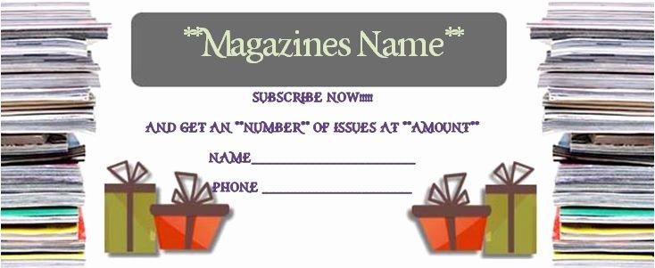 Magazine Subscription Gift Certificate Template Beautiful Magazine Subscription T Card Template Magazine