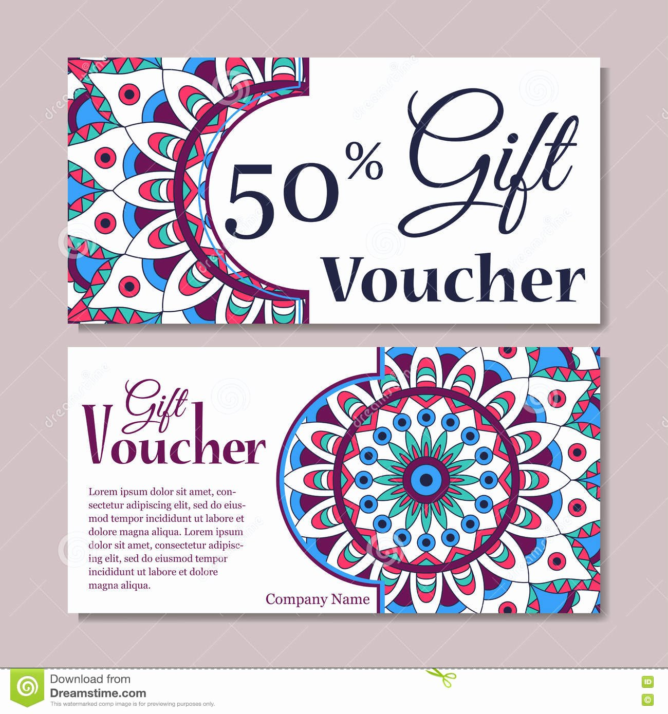 Magazine Subscription Gift Certificate Template Inspirational Gift Voucher Template with Mandala Design Certificate for