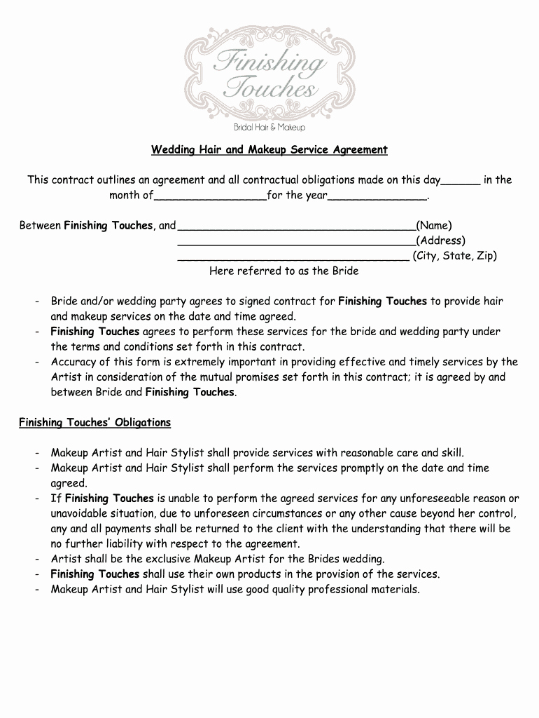 Makeup Artist Contract Pdf Awesome Makeup Agreement form Fill Line Printable Fillable