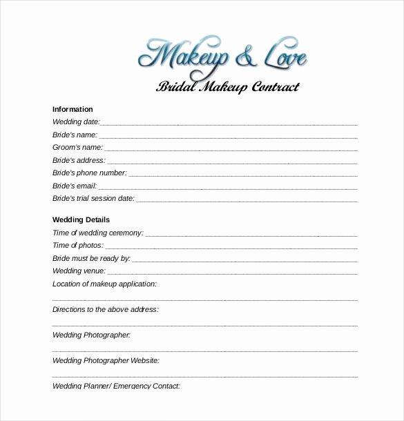 Makeup Artist Contract Pdf Best Of 28 Wedding Contract Templates – Example Word Google Docs