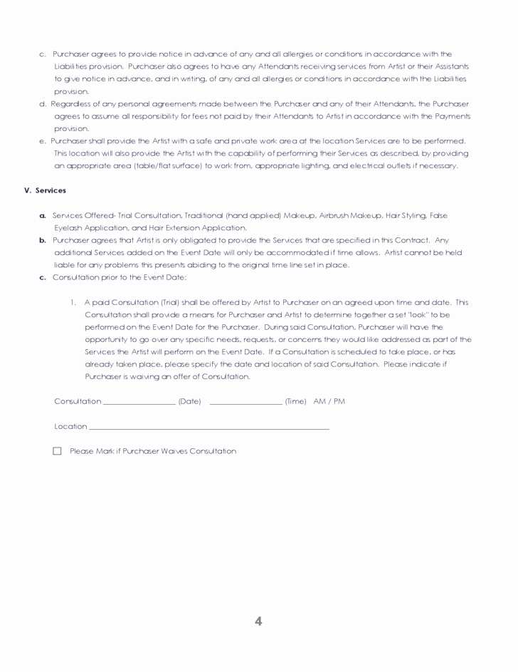 Makeup Artist Contract Pdf Best Of 38 Brilliant Samples Blank Contract forms Thogati