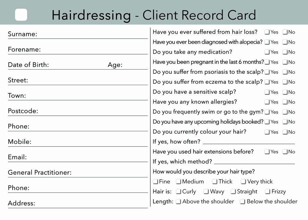 Makeup Artist Contract Pdf Inspirational Beauty Client Card Treatment Consultation Card In 2019
