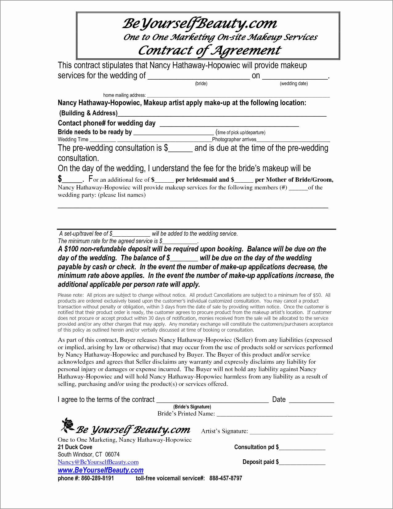 Makeup Artist Contract Pdf Unique New Makeup Artist Contract Template Free