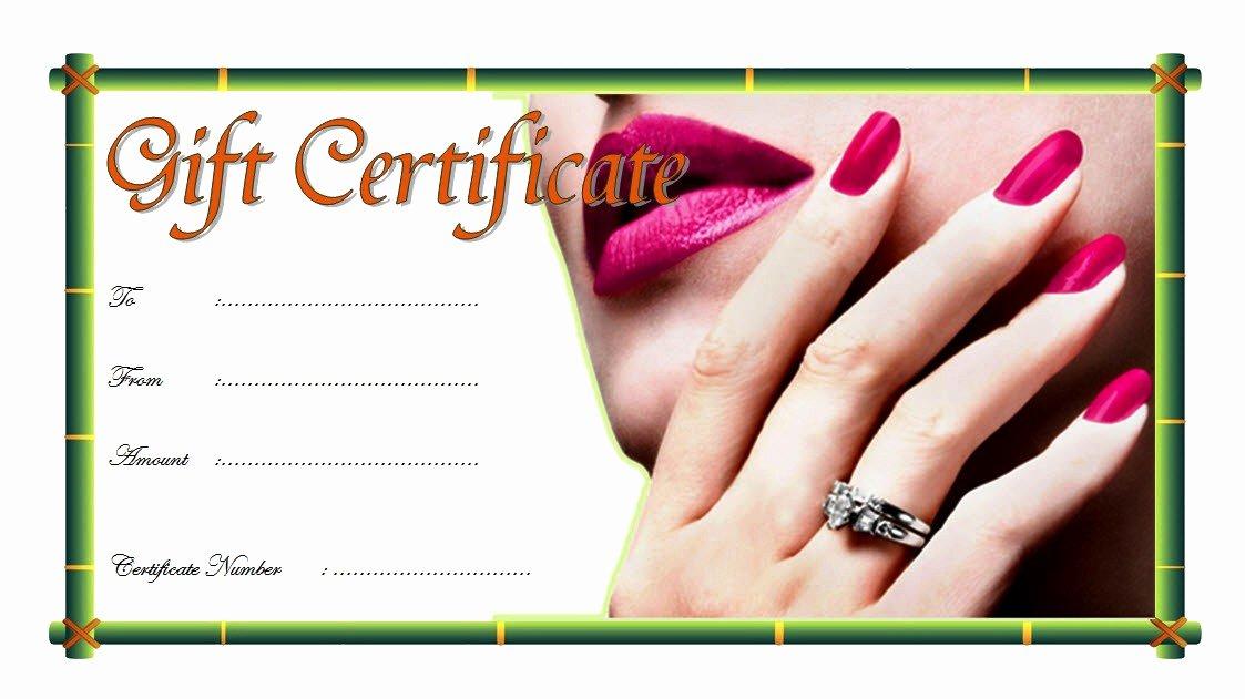 Mani Pedi Gift Certificate Template Fresh Nail Salon Gift Certificate 1