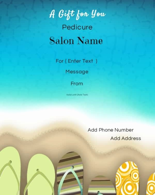 Mani Pedi Gift Certificate Template Inspirational Nail Salon Gift Certificates Free Nail Salon Gift