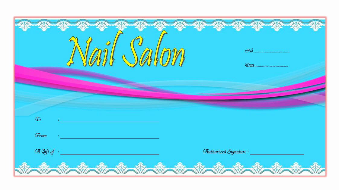 Mani Pedi Gift Certificate Template Lovely Nail Salon Gift Voucher Template Free Printable 1