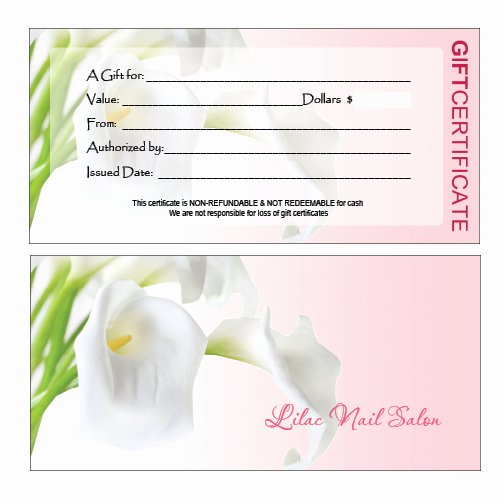 Manicure Gift Certificate Template New Gift Certificates Printing for Nail Salon