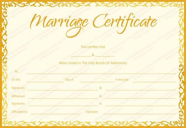 Marriage Certificate Template Microsoft Word Awesome Marriage Certificate Template 22 Editable for Word