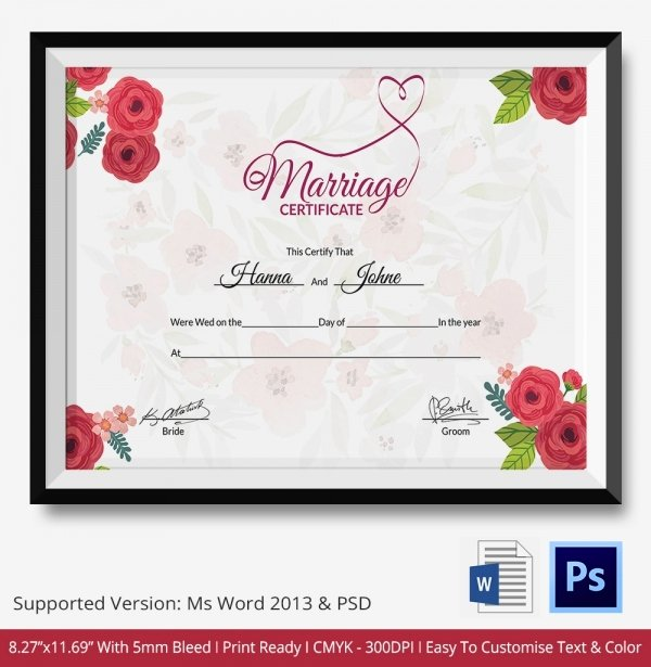 Marriage Certificate Template Microsoft Word Beautiful Marriage Certificate Template 12 Free Word Pdf Psd