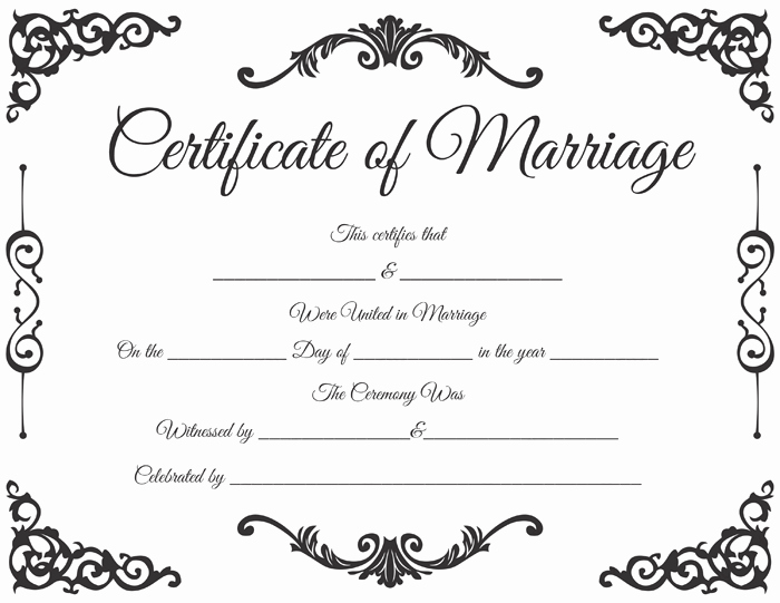 Marriage Certificate Template Microsoft Word Beautiful Traditional Corner Marriage Certificate Template Dotxes