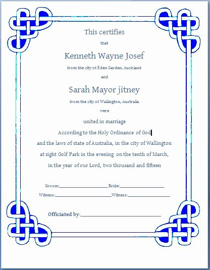 Marriage Certificate Template Microsoft Word Best Of Ms Word formal Marriage Certificate Template