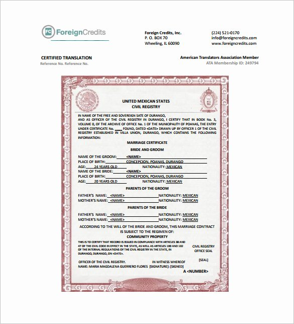 Marriage Certificate Translation Template Spanish to English Lovely Certificate Template 50 Printable Word Excel Pdf Psd
