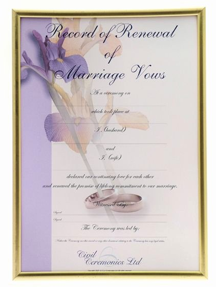 Marriage Covenant Certificate Template Awesome Home Renewal Of Vows Ceremony Renewal Of Vows Certificate