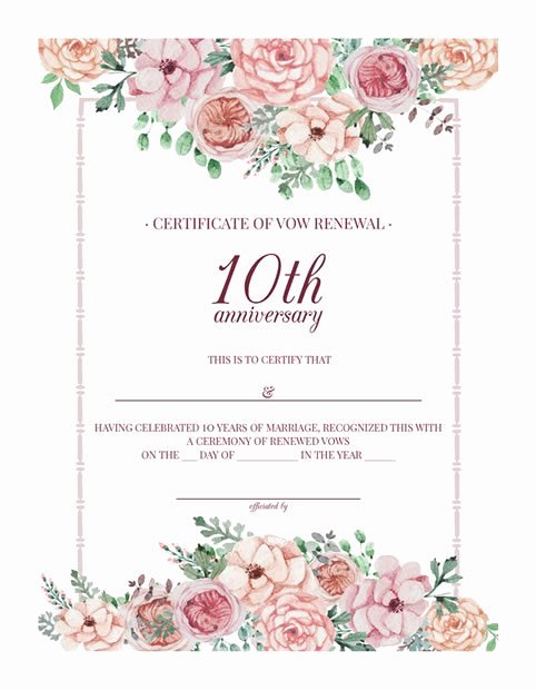Marriage Covenant Certificate Template Beautiful Free Printable Vintage Floral 10th Anniversary Vow Renewal