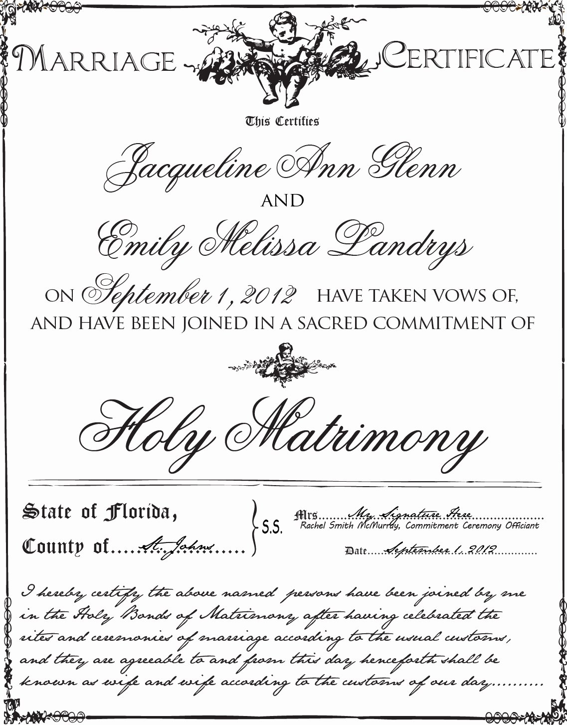 Marriage Covenant Certificate Template Best Of Gay Wedding Lesbian Wedding and Mitment Ceremony