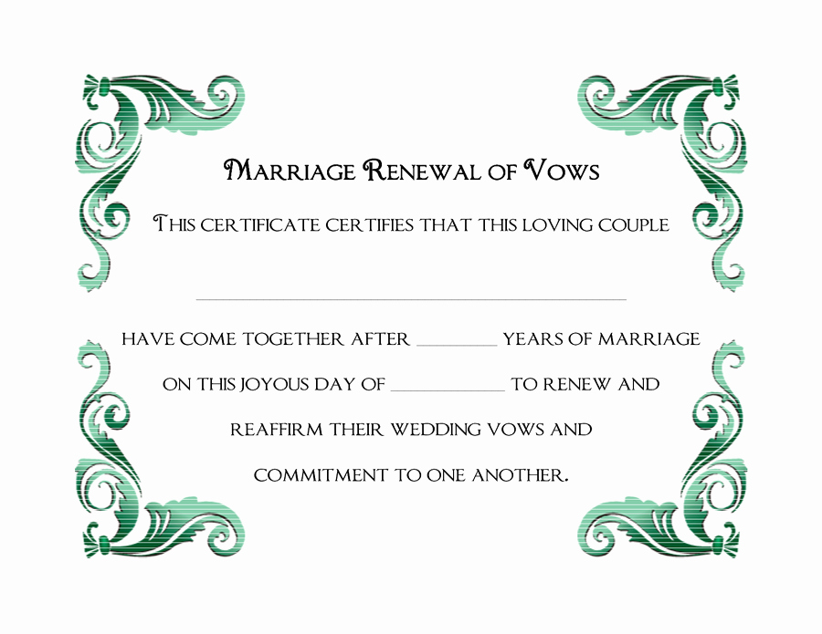 Marriage Covenant Certificate Template Inspirational Wedding Vow Renewal Certificate Printable