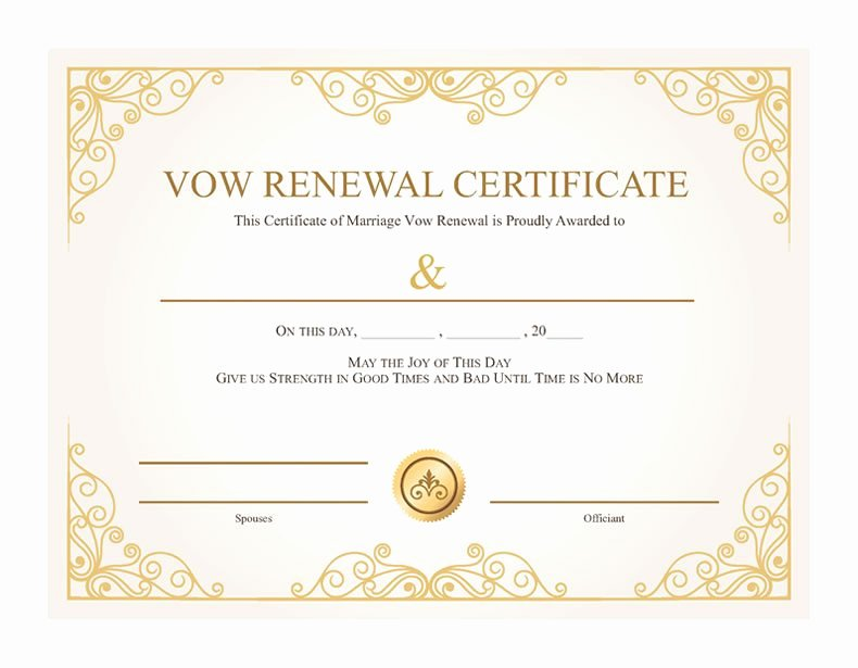 Marriage Covenant Certificate Template Lovely Free Printable Gold Vines Certificate Of Vow Renewal I