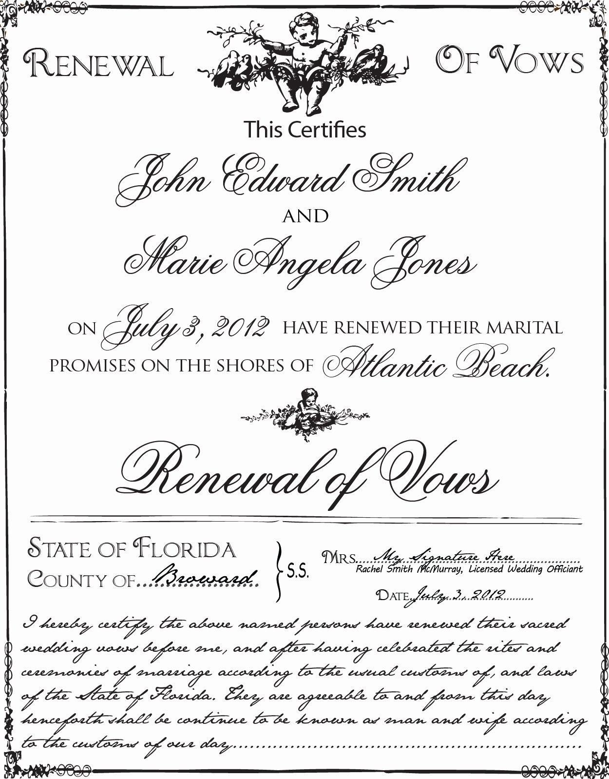 Marriage Covenant Certificate Template Luxury Florida Vow Renewal Certificates – Wedding Ficiant Ft