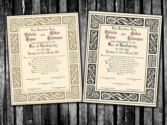 Marriage Covenant Certificate Template New norse Viking Celtic Handfasting Certificate for Pagan