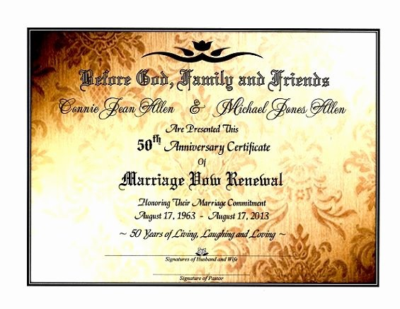 Marriage Covenant Certificate Template New Sacred Golden Shimmer Marriage Vow Renewal Certificate