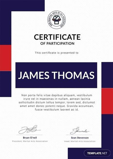 Martial Arts Certificate Creator Program Beautiful Free Martial Arts Award Certificate Template In Adobe