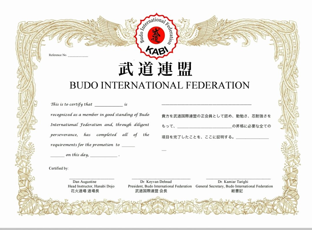 Martial Arts Certificate Creator Program Luxury Master Instructor Certificate 5th Dan & Up