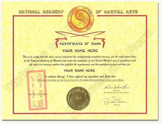 Martial Arts Certificate Maker Elegant Cookie Usage Title
