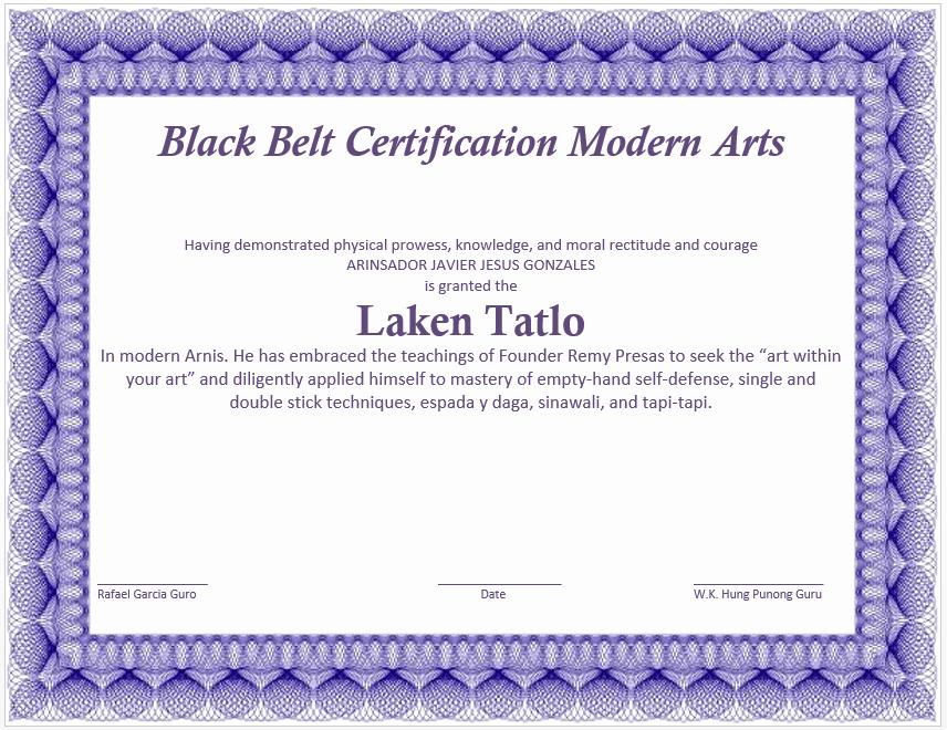 Martial Arts Certificate Maker Fresh Martial Art Certificate Template Microsoft Word Templates