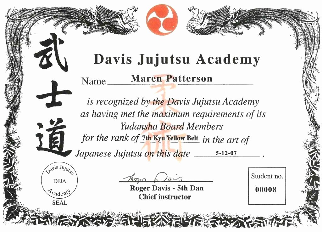 Martial Arts Certificates Free Fresh 30 Martial Arts Certificates Free