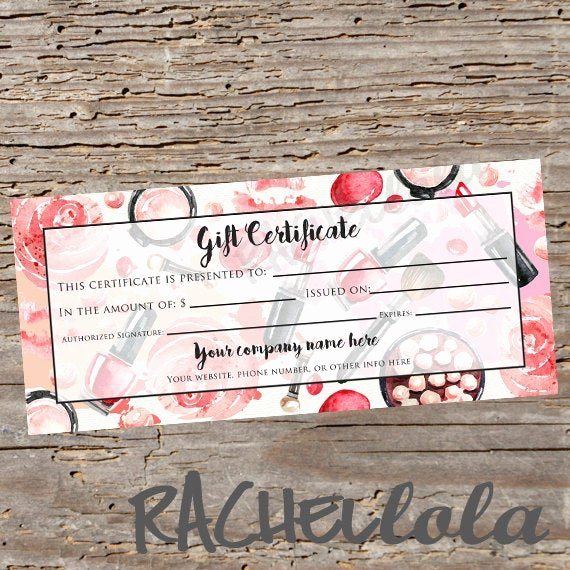 Mary Kay Gift Certificate Template Free Download Elegant Custom Red Makeup Printable Gift Certificate Template