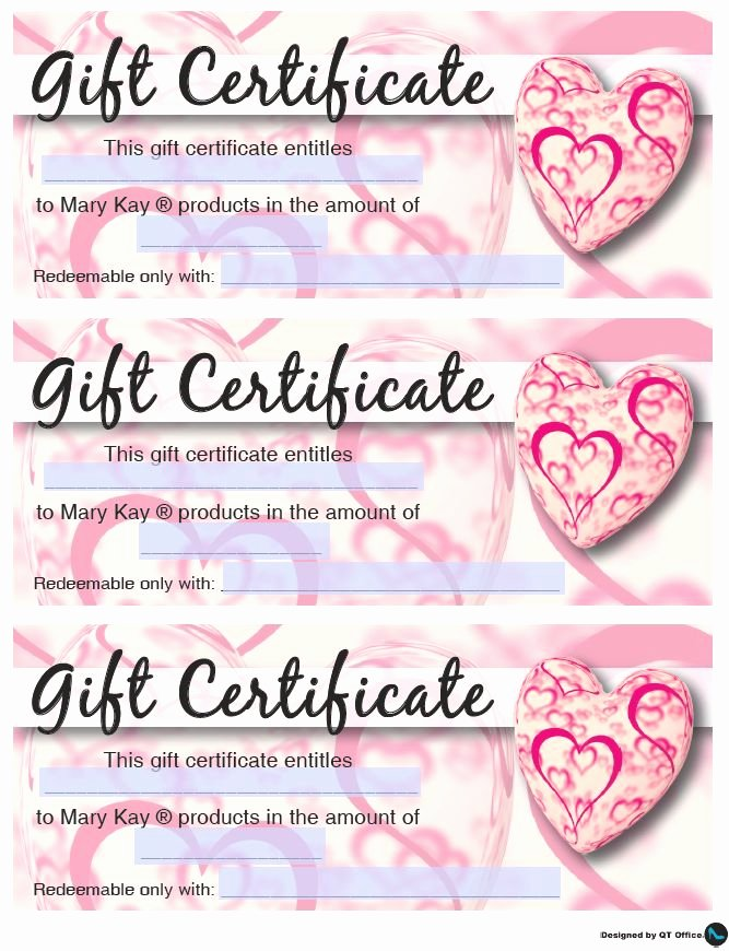 Mary Kay Gift Certificate Template Free Download Elegant Mary Kay Valentine S Gift Certificates