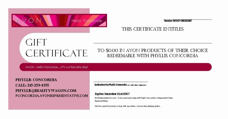 Mary Kay Gift Certificate Template Free Download Fresh Avon – Gift Certificate Example