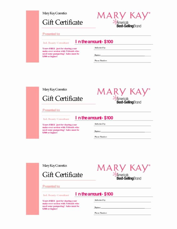 Mary Kay Gift Certificate Template Inspirational Gift Certificates